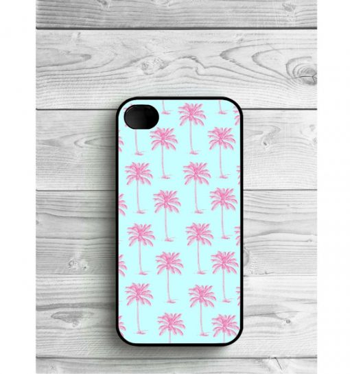 Blue Pink Palmtree Pattern Protective Cases For iPhone, Samsung Galaxy, iPod