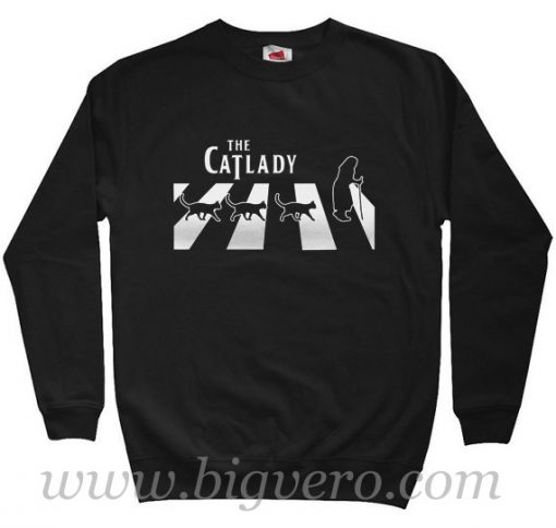 Cat Lady Walk In Abbey Road Sweatshirt
