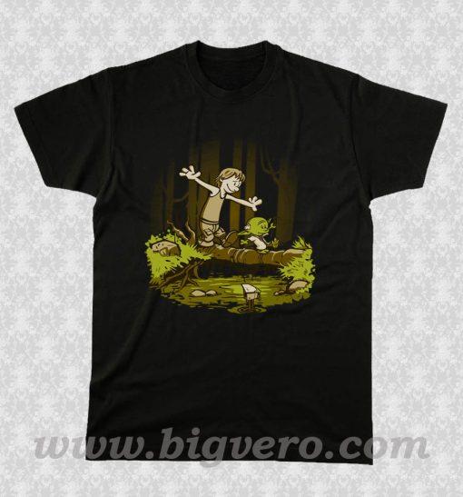 Luke and Yoda Calvin and Hobbes T Shirt