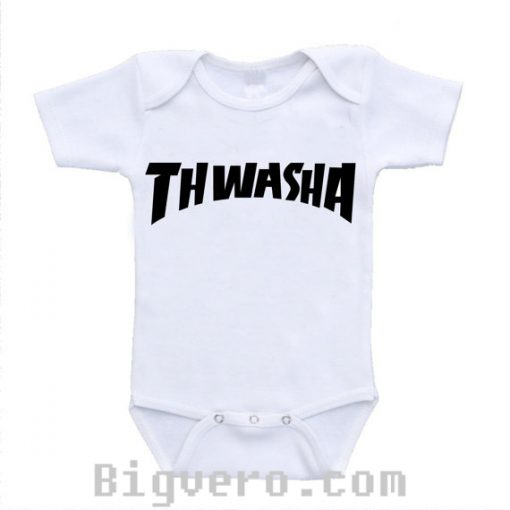 Thwasha Thrasher Spoof Skateboard Funny Baby Onesie