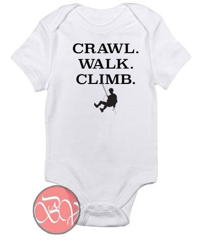 Crawl. Walk. Climb Baby Onesie