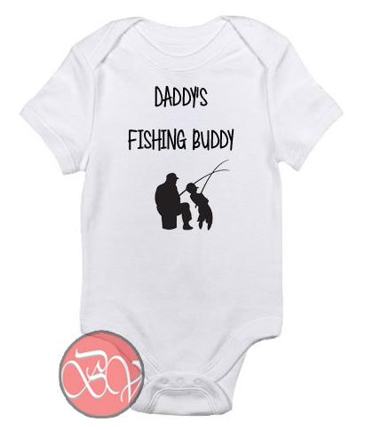 Daddy 39 s fishing buddy baby onesie cool baby onesie for Fishing shirt onesie
