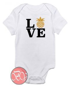 LOVE - With Gold Glitter Pineapple Baby Onesie