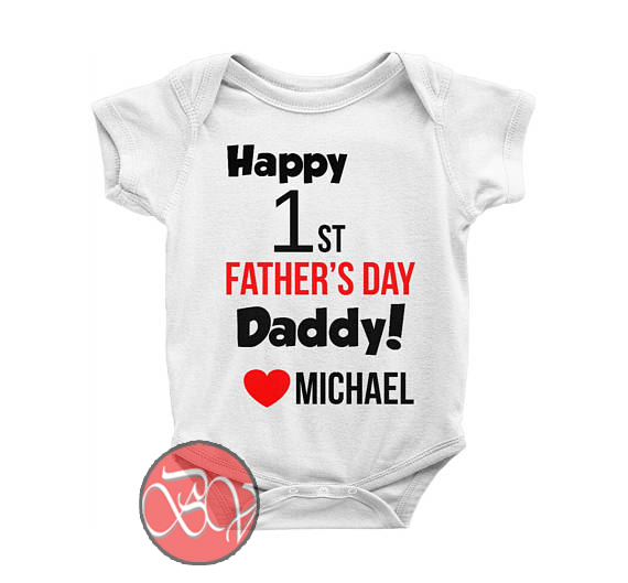 dded5f77 Happy 1st Father's Day Daddy Baby Onesie | Cool Baby Onesie Designs
