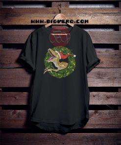 Velociraptor Christmas Wreathe Tshirt