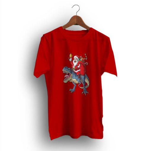 Matching Santa Riding Dinosaur Christmas T-Shirt