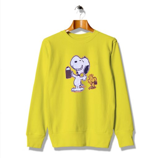 Drinking Beer Snoopy Woodstock Peanuts Vintage Sweatshirt