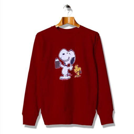 Root Beer Drinking Snoopy And Woodstock Peanuts Sweatshirt