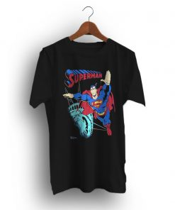 Superman Statue of Liberty Black Vintage 90s T-Shirt