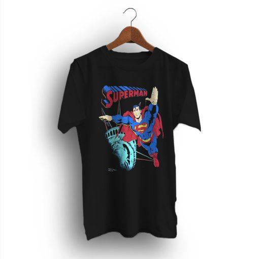 Superman Statue of Liberty Black Vintage 90s T-Shirt